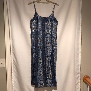 Lucky Brand blue & white sundress boho/prairie M